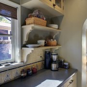 View of Spanish-style home with open shelving and cabinetry, countertop, cuisine classique, home, interior design, kitchen, room, gray, brown