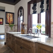 View of kitchen with aged look, featuring internally bathroom, cabinetry, countertop, cuisine classique, home, interior design, kitchen, room, window, brown, gray