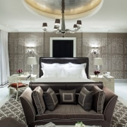 Jamie Herzlinger has designed the bathroom in this ceiling, couch, furniture, home, interior design, living room, room, table, gray