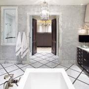 Jamie Herzlinger has designed this master suite to bathroom, ceiling, floor, flooring, home, interior design, room, tile, white