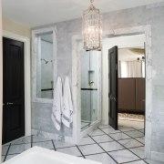 Jamie Herzlinger has designed this master suite to bathroom, ceiling, floor, home, interior design, plumbing fixture, room, gray