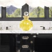 Jamie Herzlinger has designed this master suite to countertop, furniture, interior design, kitchen, room, sink, table, tap, black, white