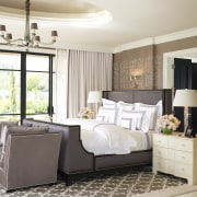 Jamie Herzlinger has designed this master suite to bed frame, bedroom, floor, flooring, furniture, home, interior design, living room, product, room, wall, window, white