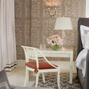 Jamie Herzlinger has designed this master suite to ceiling, chair, curtain, dining room, floor, flooring, furniture, home, interior design, living room, product, room, table, textile, wall, wallpaper, window, window covering, window treatment, gray, brown
