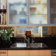 View of remodeled kitchen in a Park Avenue cabinetry, countertop, cuisine classique, glass, interior design, kitchen, under cabinet lighting, window, gray
