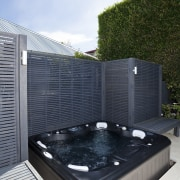 The rear yard of this home has been jacuzzi, swimming pool, white, black
