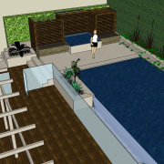 The rear yard of this home has been architecture, house, property, residential area, roof, gray