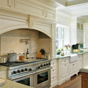 View of kitchen which evokes classic aesthetic, mahogany cabinetry, countertop, cuisine classique, estate, flooring, interior design, kitchen, gray