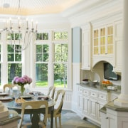View of kitchen which evokes classic aesthetic, mahogany ceiling, dining room, furniture, home, interior design, kitchen, living room, room, table, window, white