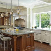 View of kitchen which evokes classic aesthetic, mahogany cabinetry, countertop, cuisine classique, estate, home, interior design, kitchen, real estate, room, window, gray, brown