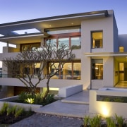 Exterior view of contemporary home. - Exterior view architecture, elevation, estate, facade, home, house, official residence, property, real estate, residential area, villa