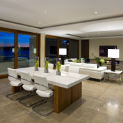 View of open plan dining and lounge area ceiling, estate, interior design, living room, property, real estate, brown, gray
