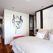 View of bedroom with painting on the wall. bedroom, ceiling, home, interior design, real estate, room, suite, white