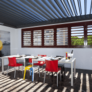 View of outdoor table with red seats and interior design, real estate, restaurant, table, black, gray