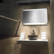 View of bathroom with ambient lighting by Lighthouse architecture, bathroom, daylighting, interior design, light fixture, product design, room, sink, black