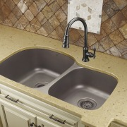 View of undermounted double sinks by Artisan Manufacturing bathroom, bathroom sink, countertop, plumbing fixture, sink, tile, orange, brown