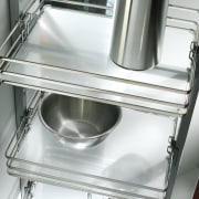 View of kitchen organisation products by Rev-A-Shelf, including cookware accessory, cookware and bakeware, gas stove, home appliance, kitchen, kitchen appliance, kitchen stove, major appliance, product design, sink, small appliance, tap, gray, white