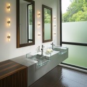 View of contemporary bathroom vanities and framed mirrors bathroom, countertop, interior design, room, sink, window, gray, black