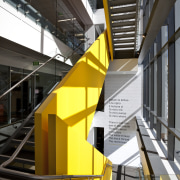 View of exterior paint by Resene at Takutai angle, architecture, building, daylighting, escalator, facade, glass, handrail, line, metropolitan area, stairs, structure, yellow, black