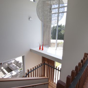 VIew of stairway in contemporary home. - VIew architecture, ceiling, daylighting, handrail, house, interior design, stairs, table, window, gray