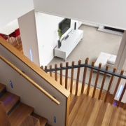 VIew of contemporary home. - VIew of contemporary baluster, floor, flooring, handrail, hardwood, interior design, product, product design, property, stairs, wood, wood flooring, gray, brown