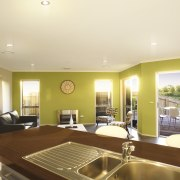 View of open plan lounge and kitchen area apartment, ceiling, estate, home, interior design, living room, property, real estate, room, window, orange