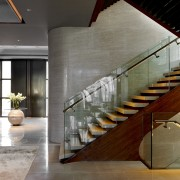 View of stairway in a contemporary home. - architecture, handrail, interior design, lobby, stairs, gray