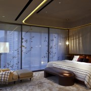 View of contemporary bedroom. - View of contemporary architecture, bedroom, ceiling, home, interior design, lighting, room, suite, wall, window, brown