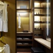 View of contemporary walk in wardrobe. - View cabinetry, closet, furniture, interior design, room, wardrobe, brown, black
