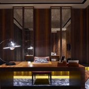View of contemporary office space. - View of ceiling, furniture, interior design, lobby, room, window, black, red