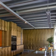 The house and kitchen designed by Jonothan Grose-Jong architecture, ceiling, daylighting, interior design, lobby, roof, wood, brown, black, gray