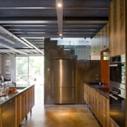 The house and kitchen designed by Jonothan Grose-Jong ceiling, countertop, interior design, kitchen, loft, real estate, brown