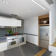 This kitchen features stainless steel benchtops. It was ceiling, countertop, floor, interior design, kitchen, product design, gray, white