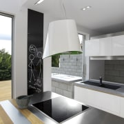 This kitchen features stainless steel benchtops. It was architecture, countertop, house, interior design, kitchen, product design, white, gray