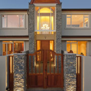 View of home with feature by Austral Bricks. door, estate, facade, home, house, lighting, real estate, window