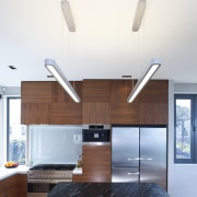 Designer Shane George. Open-plan space. Small amount of ceiling, interior design, kitchen, product design, white