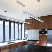 Designer Shane George. Open-plan space. Small amount of ceiling, countertop, interior design, kitchen, white