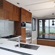 Designer Shane George. Open-plan space. Small amount of countertop, interior design, kitchen, real estate, white