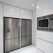 Kitchen designed by Leonie Von Sturmer of Von floor, home appliance, interior design, kitchen, product design, room, gray, white