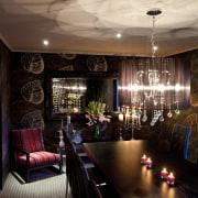 Kitchen designed by Leonie Von Sturmer of Von ceiling, ceremony, function hall, home, interior design, light fixture, lighting, lobby, restaurant, room, table, brown, black