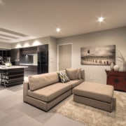 View of contemporary open plan interior with neutral-toned ceiling, home, interior design, living room, real estate, room, wall, orange