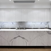 Designed by Morgan Cronin of Cronin Kitchens, this floor, furniture, interior design, kitchen, table, wall, gray, white