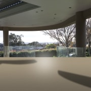 View of home with curved, toughened glass balustrade. architecture, house, real estate, window, gray, black