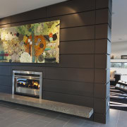 View of dark-toned indoor fireplace. - View of fireplace, hearth, interior design, living room, lobby, wall, black, gray