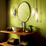 View of mirror with yellow wall and lights ceiling, interior design, lamp, light fixture, lighting, product design, room, still life photography, yellow, yellow, brown