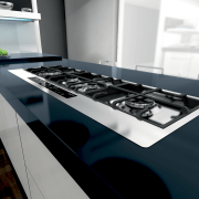 View of modern kitchen fitted with Kleenmaid appliances. countertop, kitchen, product, product design, black, gray