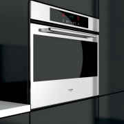 View of modern kitchen fitted with Kleenmaid appliances. home appliance, kitchen appliance, kitchen stove, microwave oven, multimedia, oven, product, product design, black