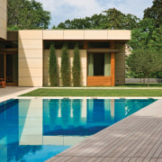 View of pool area. - View of pool architecture, backyard, estate, home, house, leisure, property, real estate, reflection, swimming pool, villa, water, wood, gray