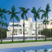 View of pool area. - View of pool architecture, arecales, condominium, estate, home, house, palm tree, real estate, resort, sky, tree, water, teal