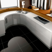 View of modern kitchen fitted with Kleenmaid appliances. angle, desk, floor, furniture, product, product design, yacht, black